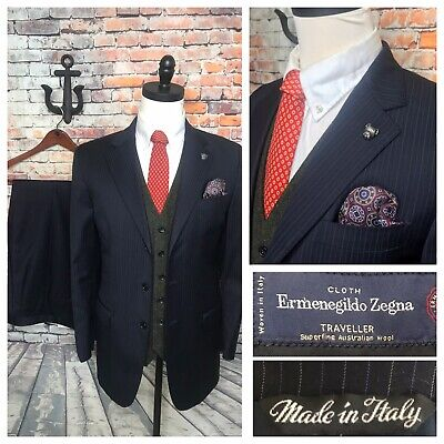 Ermenegildo Zegna Navy Blue Pinstripe Wool Suit Mens Size 44 Long Mens Navy Pinstripe Wool Suit