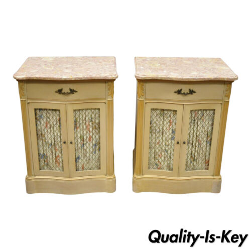 Pair of Pink Marble Top Serpentine Front French Victorian Style Nightstands