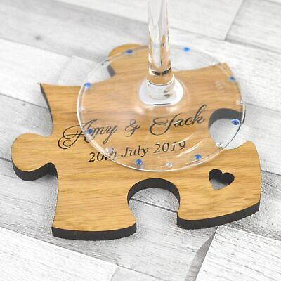 Wedding Favor Coasters (Personalised Jigsaw Puzzle Wedding Table Coasters Rustic Wooden Favors)