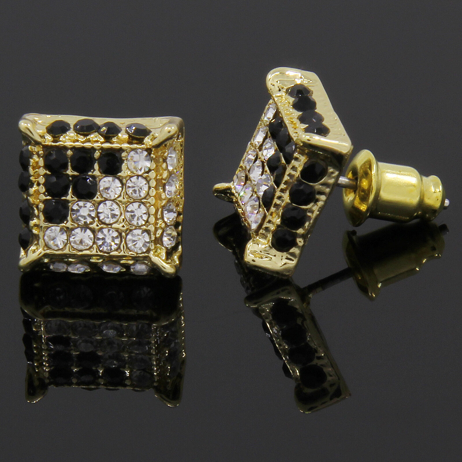 Hip Hop Earrings: Mens Gold And Black Cz Cube Iced Out Hip Hop Micro Pave