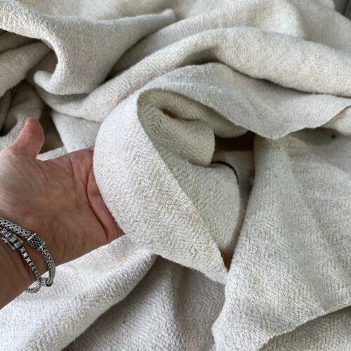4.5 Y Antique Grain sack fabric complex weave gray tone hemp homespun linen old