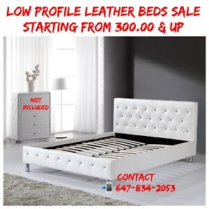 CRYSTAL LOW PROFILE LEATHER BEDS SALE