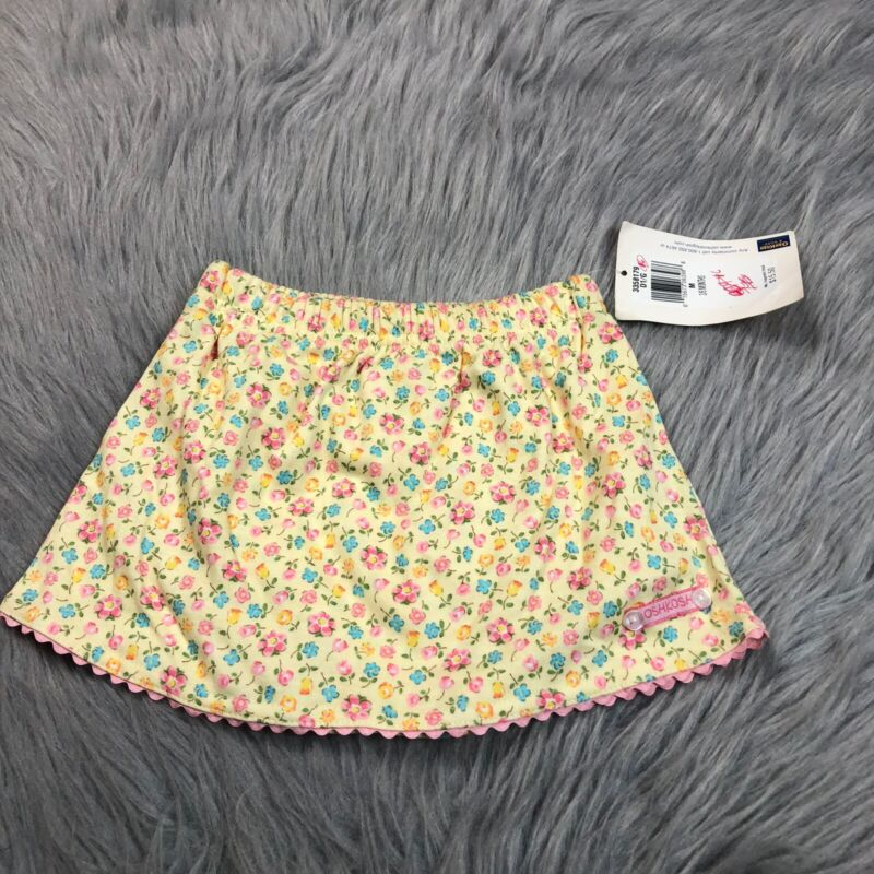Vintage Oshkosh Bgosh Baby Girls Yellow Floral Skirt With Attached Bloomers
