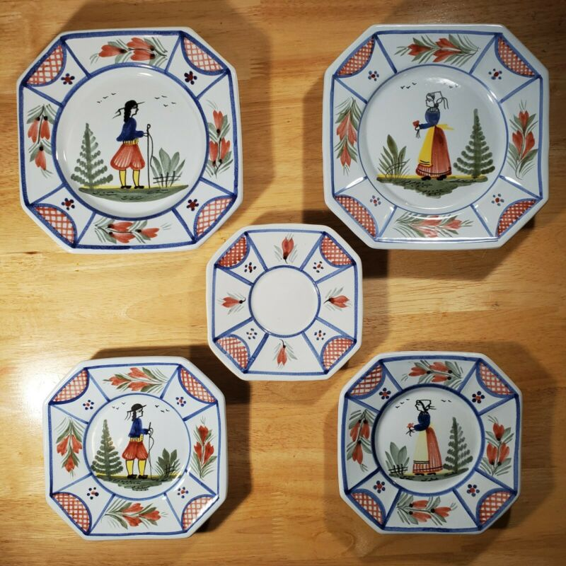 5 Antique Henriot Quimper Pottery France Breton Man & Women Faience Plates SET A