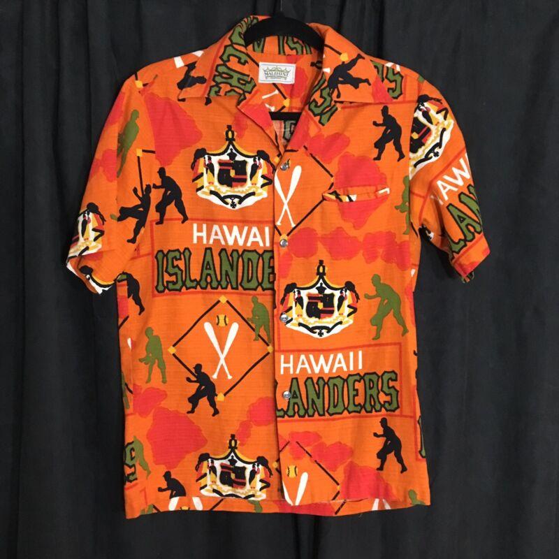 Malihini Vintage Barkcloth Aloha Hawaiian Shirt Hawaii Islanders Baseball Team