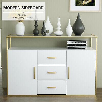 Modern Sideboard Buffet Cabinet Cupboard Console Table Glass Top Living Room Modern Buffet Cabinet