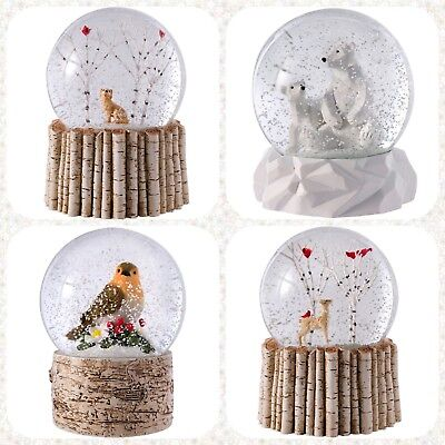 Christmas Tree Reindeer Bird Bear Snow Globe Brich Base Led Light Decor ()