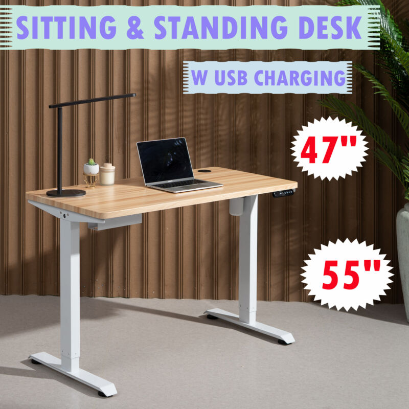 """47"""" 55"""" Height Adjustable Electric Standing Desk for Home Office Study"""