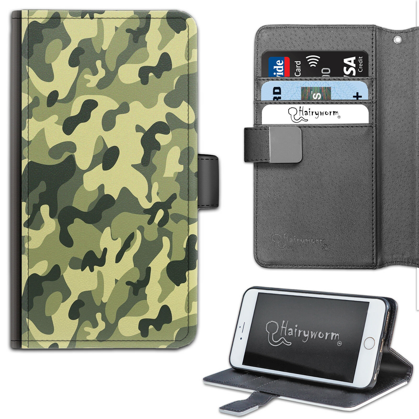 brand new 99c85 6f35e Details about HAIRYWORM GREEN CAMO PRINTED DELUXE LEATHER WALLET PHONE  CASE, FLIP PHONE CASE