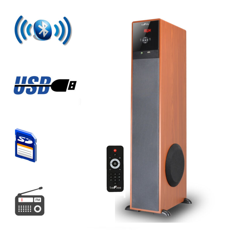 "beFree Sound 6-1/2"" Powered 3-Way Wireless Speaker (Each) Wood 91595897M"