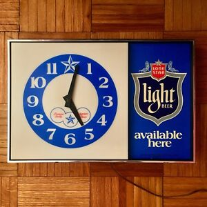Vintage Texas Lone Star Beer clock/bar sign 1970s