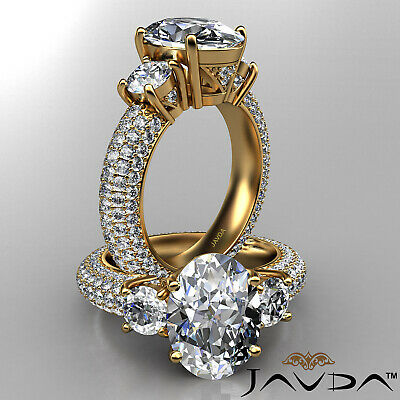 Women's 3 Stone Pave Set Oval Cut Diamond Engagement Ring GIA F Color VS2 3.8Ct 4