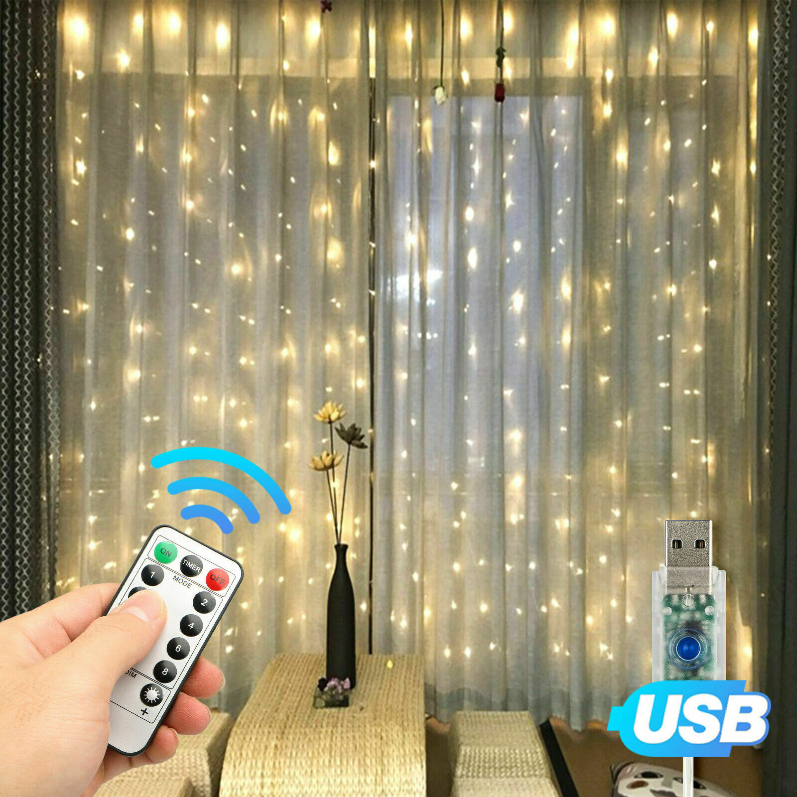 300LED Party Wedding Curtain Fairy Lights USB String Light Home w/Remote Control Home & Garden