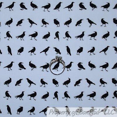 BonEful FABRIC FQ Cotton Quilt White Black CROW Bird Stripe Dark Night Boy Scout](Boy Scout Halloween Crafts)