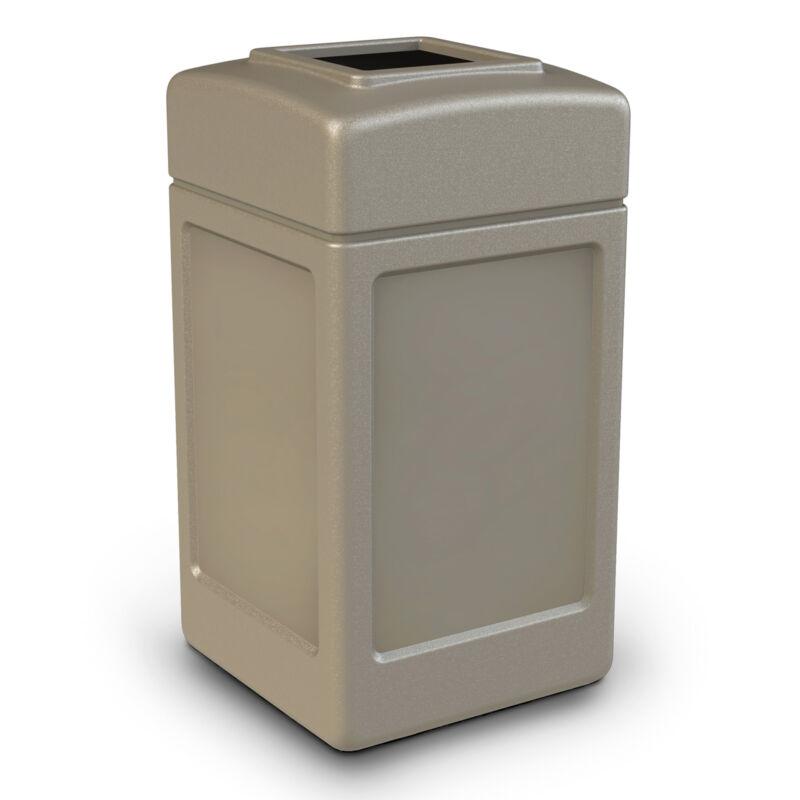 Commercial Zone Open-Top Square 42 Gallon Waste Trash Container, Beige(Open Box)