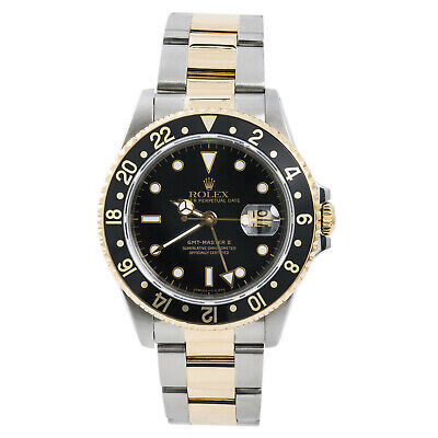 Rolex GMT-Master II 16713 Mens Black Automatic Watch 18k Two Tone 40mm