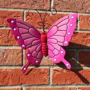 BUTTERFLY LARGE PINK METAL BUTTERFLIES WALL ART OUTDOOR GARDEN DECORATION & Outdoor Wall Art   eBay