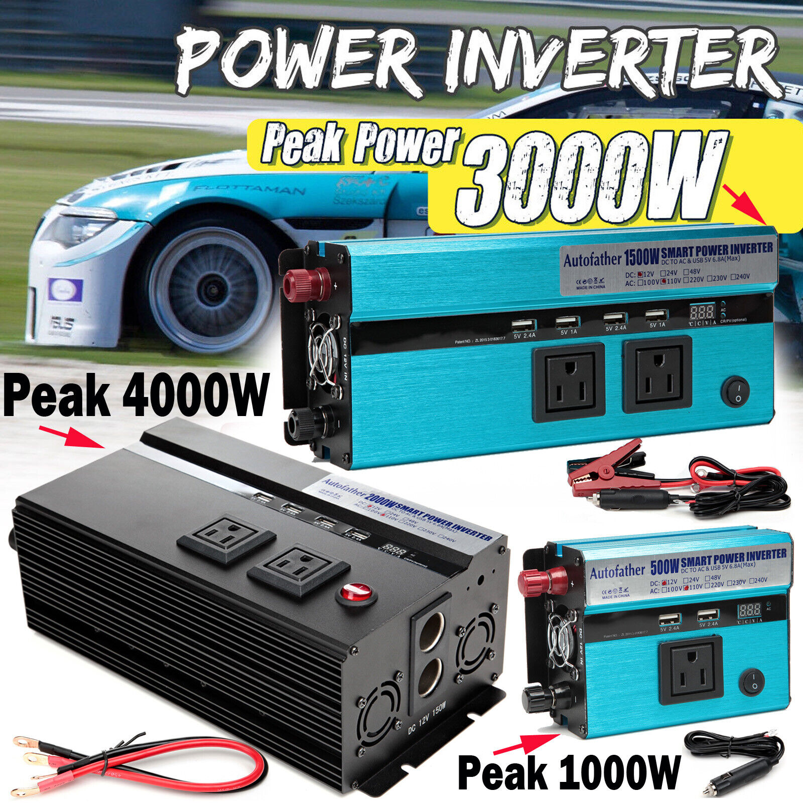 Autofather Car Power Inverter Charger Converter DC 12V to AC 110V for Electronic