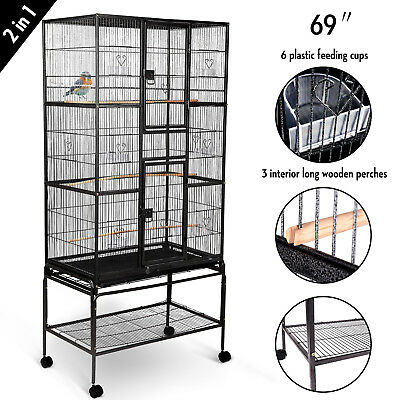 "2IN1 69"" Large Bird Cage W/Perches+Cups Parrot Pet Supplies Finch Macaw Cockatoo"