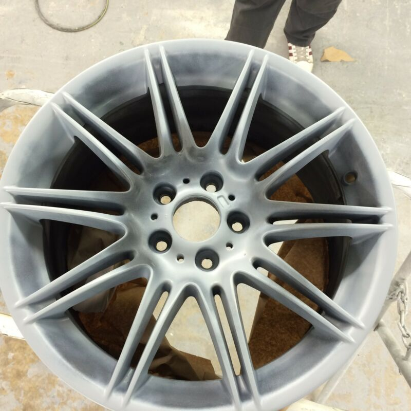 Alloy wheel after an Etch Primer applied.