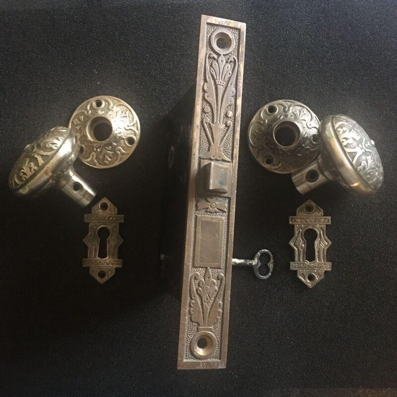 Antique Russell & Erwin Cast Bronze Mortise Lock & Branford Doorknobs & Rosettes