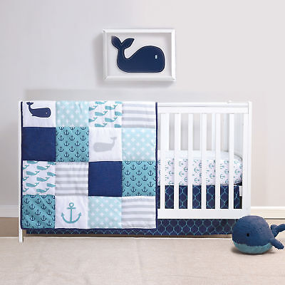 Nautical Blue, Gray&White Whales&Anchors Baby Boy Crib Bedding 4 Piece - Blue Baby Crib Bedding