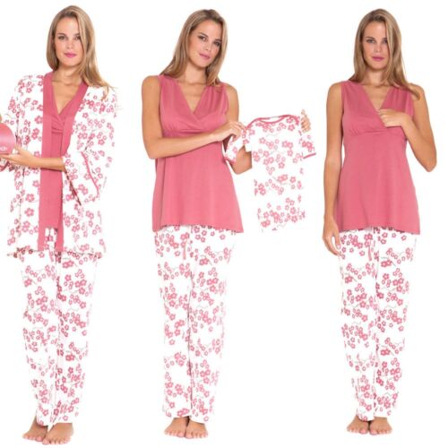 NEW OLIAN ANNE BLOSSOMS MATERNITY BABY NURSING 3 PIECE SET Medium M