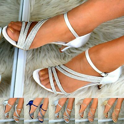 Women Mid Heel Satin Shoes Ankle Strap Bridesmaid Party Wedding Prom Sandals     Mid Heel Bridal Shoes