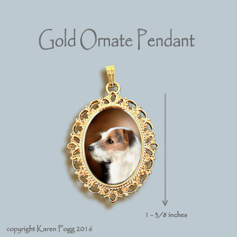 JACK RUSSELL TERRIER DOG Wire Fawn - ORNATE GOLD PENDANT NECKLACE