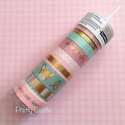 New Recollections Planner Washi Tape Tube set - Pug Crane Pink Mint Gold Foil