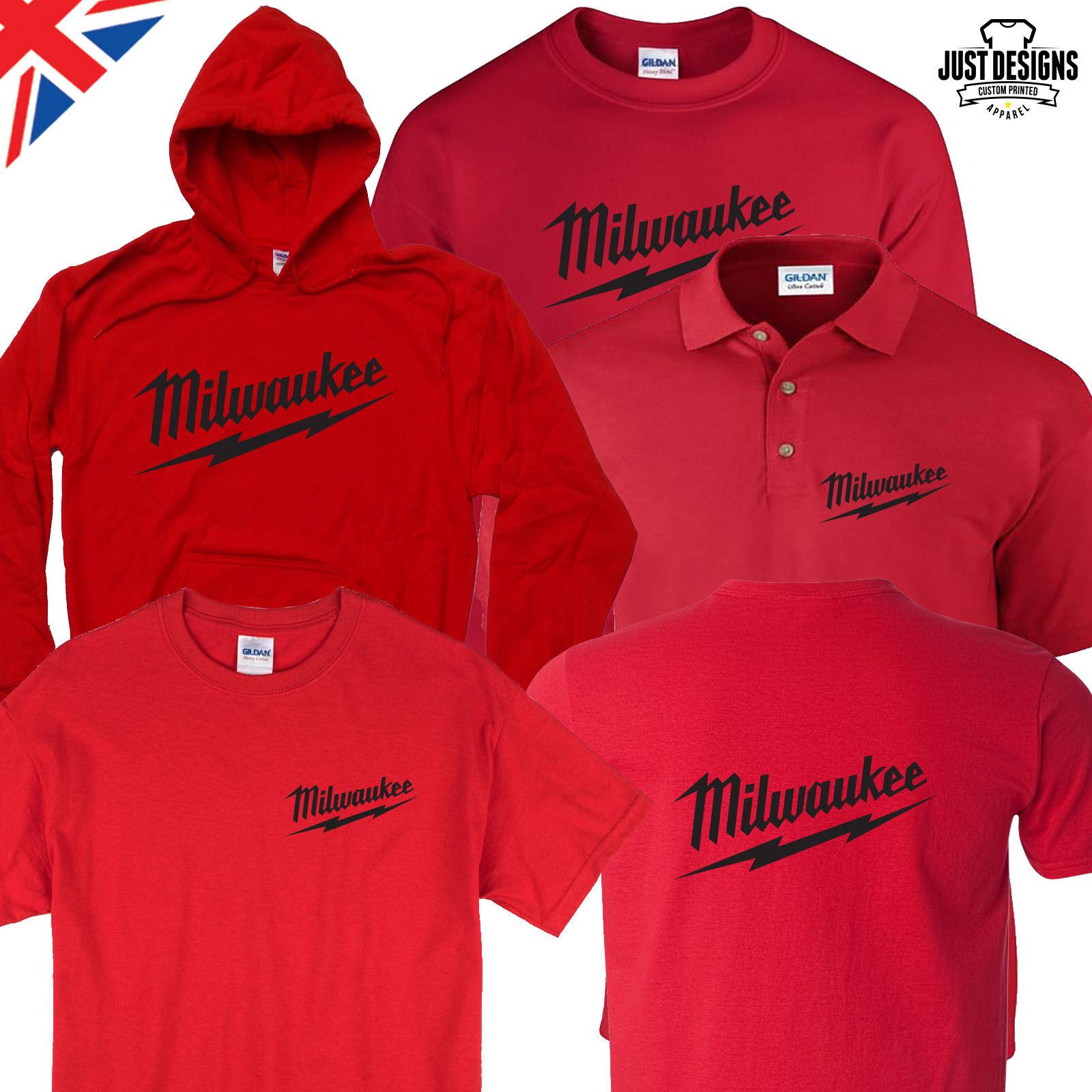 Milwaukee Red T-shirt Hoodie Polo Shirt Jumper S-5XL Power T
