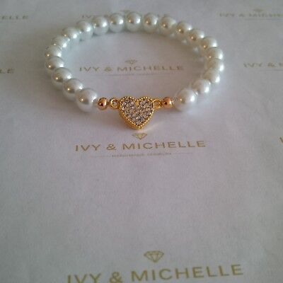 Glass Pearl White Beaded Bracelet w/ Gold Tone Heart Connector Link