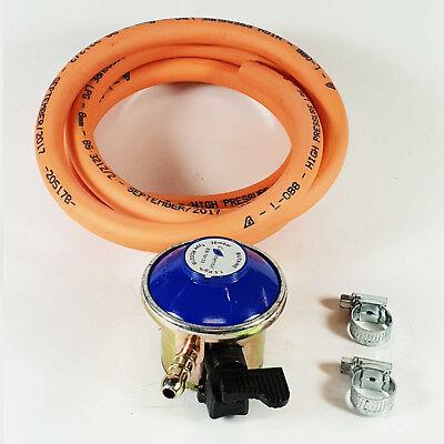 BBQ / Cooker Clip On Butane Regulator Gas Hose Kit Clips Heater / 2M Hose Kit