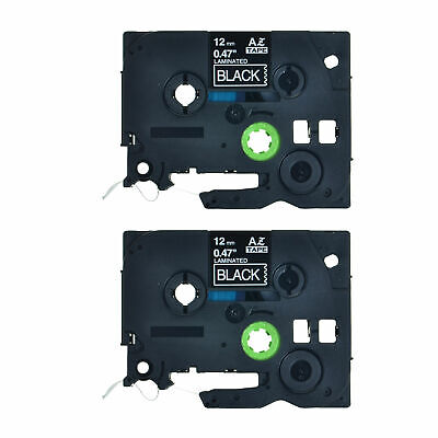 2pk 0.47 White On Black Label Tape For Brother Tz335 P-touch Tze335 12mm