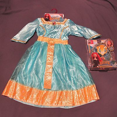 NWT Merida Disney Brave Royal Dress Costume Tiara Jewelry Halloween Girl 4 5 6