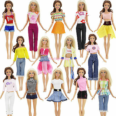 5 Sets Lady Outfits Shirt Skirt Jacket Pants Casual Clothes For Barbie Doll Gift