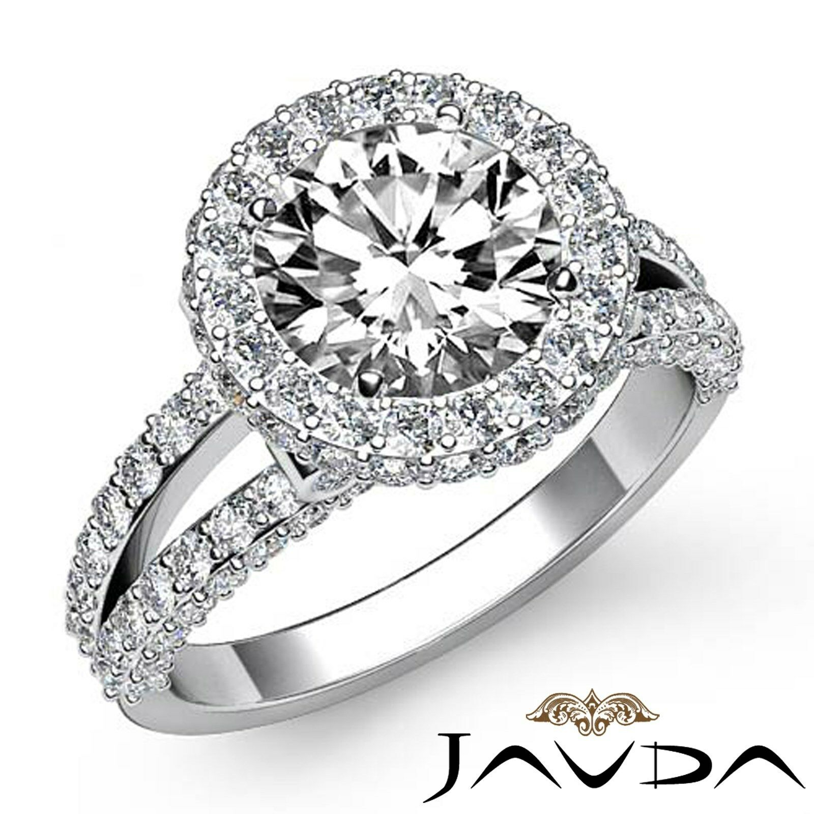 Circa Halo Split Shank Round Diamond Engagement Pave Bezel Ring GIA G VS1 2.9Ct
