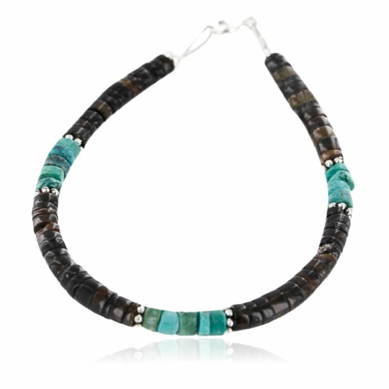 $80RetailTag Silver Navajo KINGMAN Turquoise HEISHI Native American Bracelet