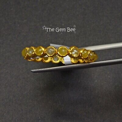 18k Solid Yellow Gold Rose Cut Rustic Fancy Color Diamond Eternity Ring Size 8
