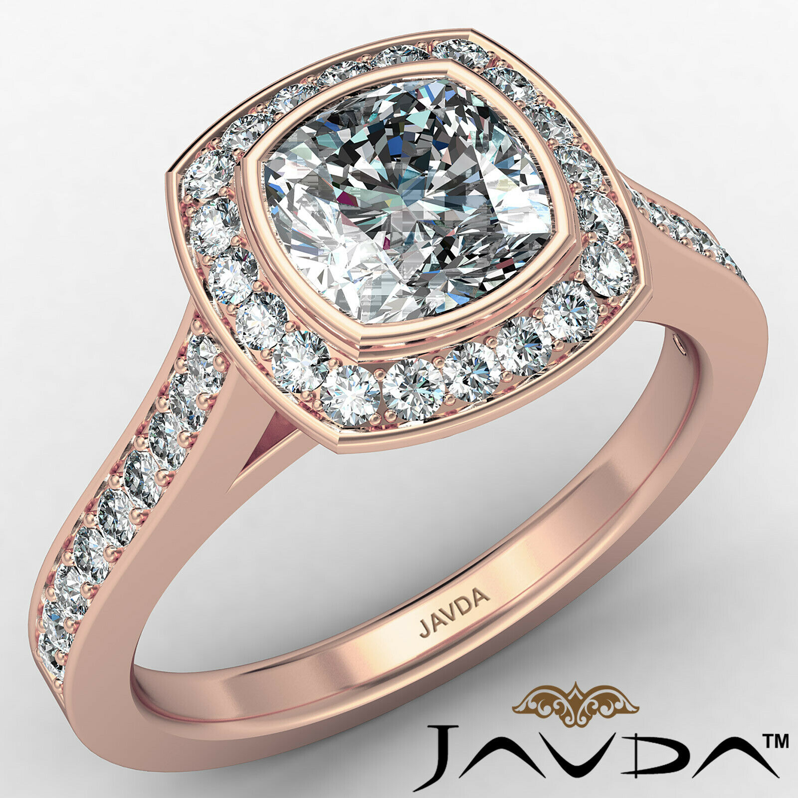 Micro Halo Cushion Diamond Engagement Ring GIA H Color & VS1 clarity 1.4 ctw 2