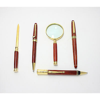 Wood Desk Set Pens Letter Opener Magnifying Glass New