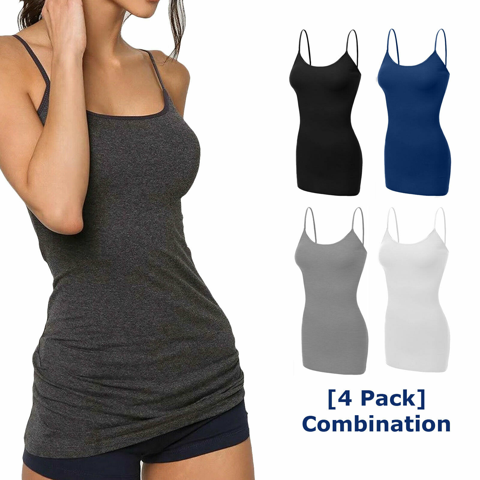 Women Long Cami Tank Tops COTTON Blend Fit Basic Camisole T