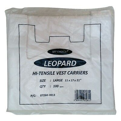 100 x Large White Vest Plastic Carrier Bags 11