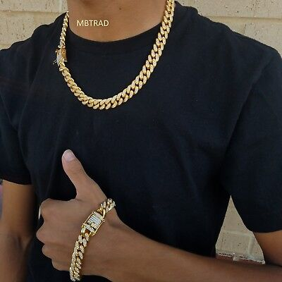 14k Gold Plate Chain (ALL SIZE CHAIN Iced Out 14k Gold  Plate Cuban Choker Necklace lab diamond hiphop )