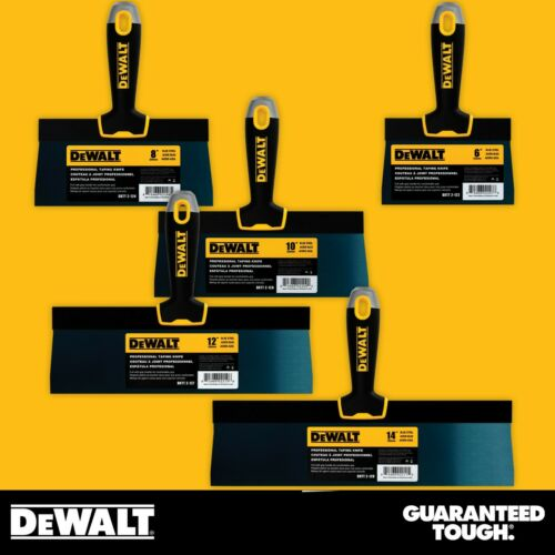"DEWALT Drywall Taping Knife Set Premium Blue Steel 6-8-10-12-14"" w/ Soft Grip"