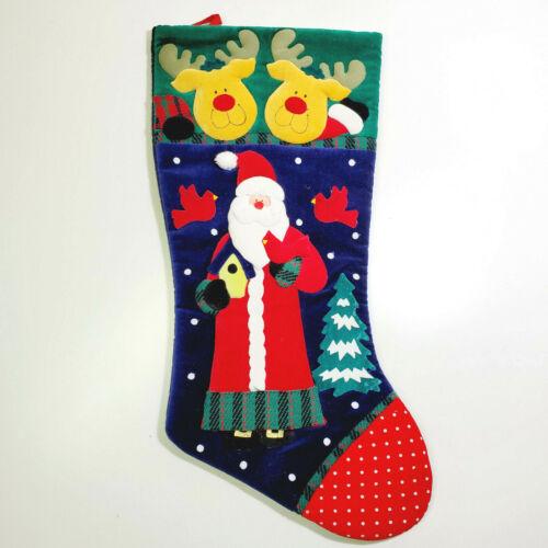 Vintage Prima Creations Christmas Stocking Santa Claus Reindeer 2001