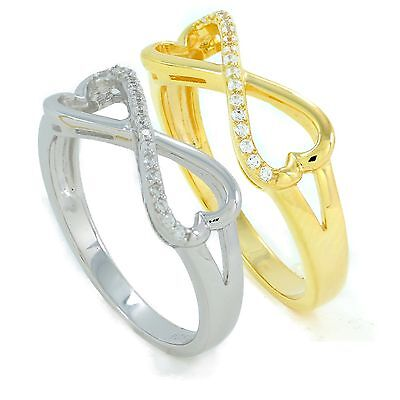 925 Sterling Silver infinity heart shape ring rhodium or 18K gold plated with -