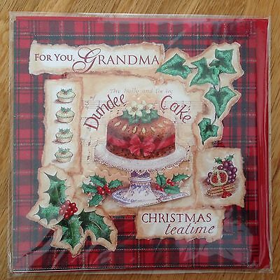 Grandma Christmas New Year Dundee Cake Greeting Note Card *NEW* (C15) ()