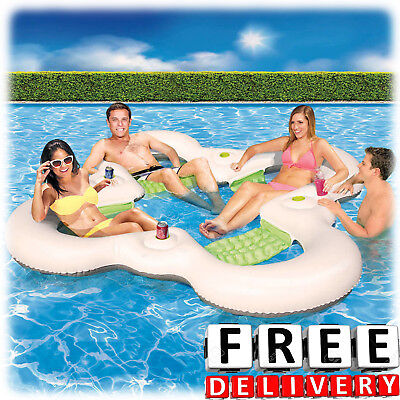 Inflatable Party Island 4 Person River Lake Family Raft Water Floating Lounge - Inflatable Party Raft