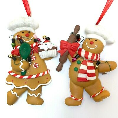 Gingerbread Man Couple Cookie Candy Christmas Ornament Baker Chef's Hat R ()